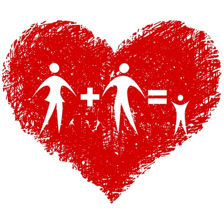 family vector with hand drawn heart Vector