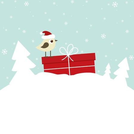 새와 선물 상자 겨울 카드
