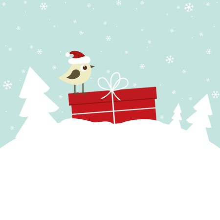 christmas bird: Winter card with bird and gift box