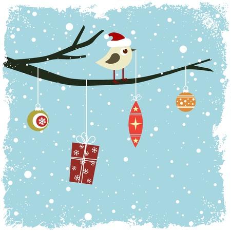 새, 선물 상자 및 유리 공 겨울 카드