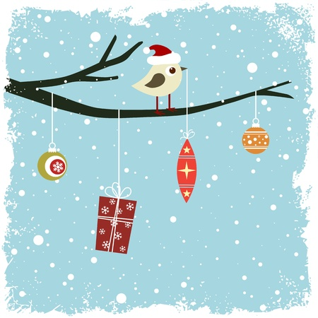 Winter card with bird, gift box and glass balls Illustration