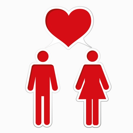 Male loving with female. Paper heart bubble. Vector