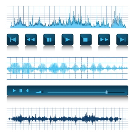 wave sound: Music background. Buttons and sound waves. Illustration