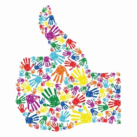 green thumb: Abstract human hand giving ok