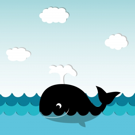 whale underwater: Cute Smiling Whale Illustration