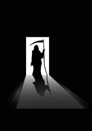 reaper: Illustration der Sensenmann Silhouette, die in einem Hauseingang