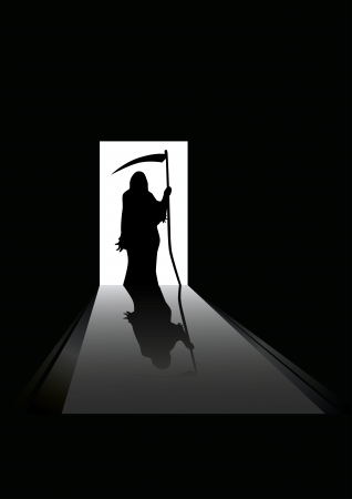 scythe: illustration of Grim reaper silhouette standing in a doorway Illustration