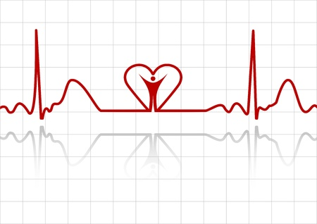 ekg: Background with ECG lines, human and heart Illustration