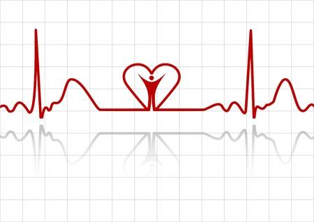 electrocardiograma: Fondo con líneas de ECG, y el corazón humanos Vectores