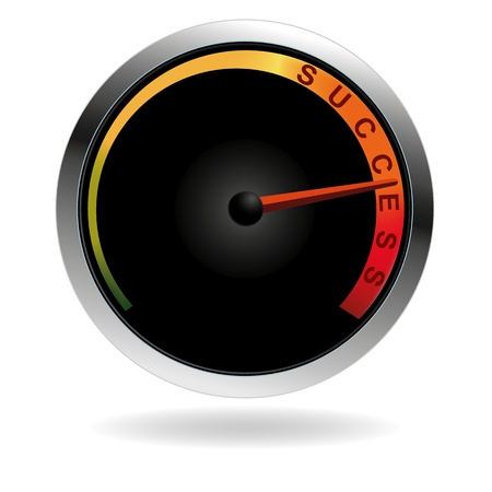 Speedometer with red needle pushing to the word success Ilustração