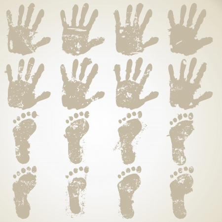 collection hand and feet prints Stock Vector - 17757760