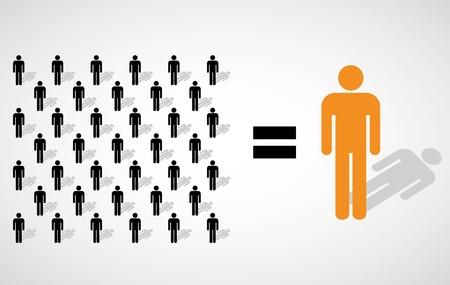 multitud gente: Mucha gente pequeña igual a uno grande Vectores