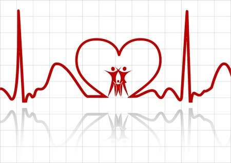 beat women: abstract ecg with family
