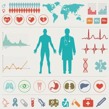 electrocardiograma: Set Infografía médica. Ilustración del vector. Vectores