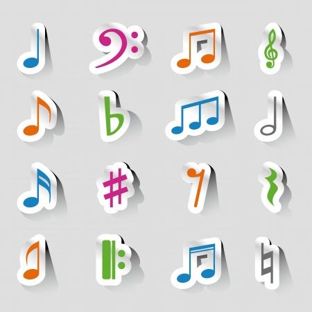 music note icon on sticker set. Ilustração