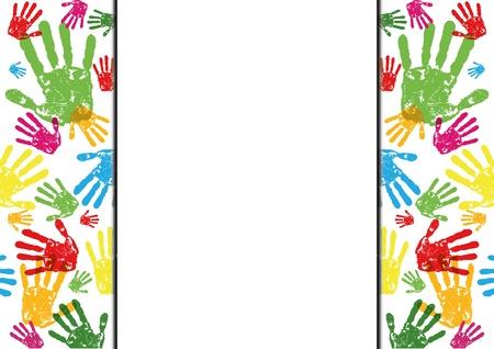 abstract vector handafdrukken achtergrond met lege ruimte Vector Illustratie