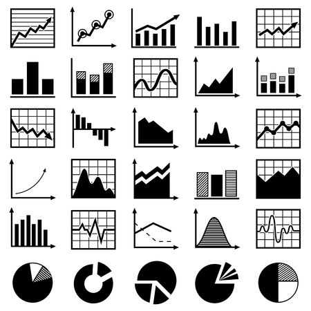Set of diagrams and graphs vector Vector