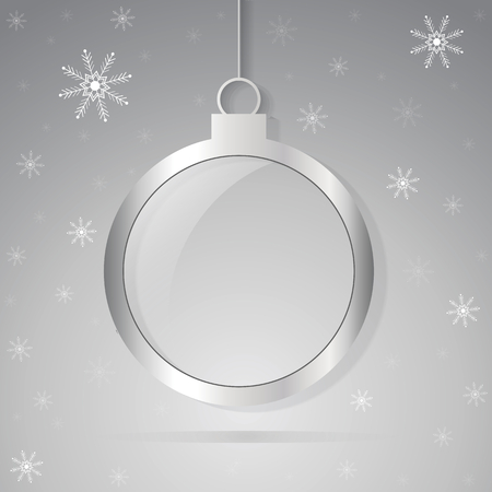 Christmas ball over silver background
