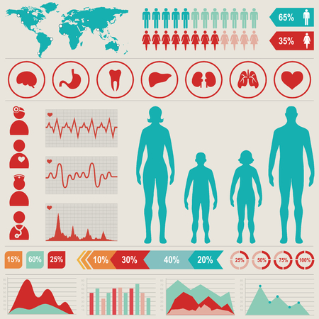 Medical infographic set with charts and other elements  Vector illustration  Illustration