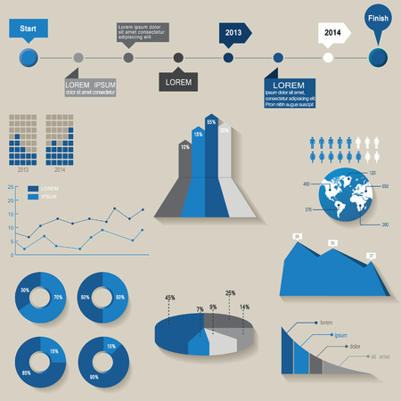 Vector, set of the 3d charts, pie charts and other infographic elements