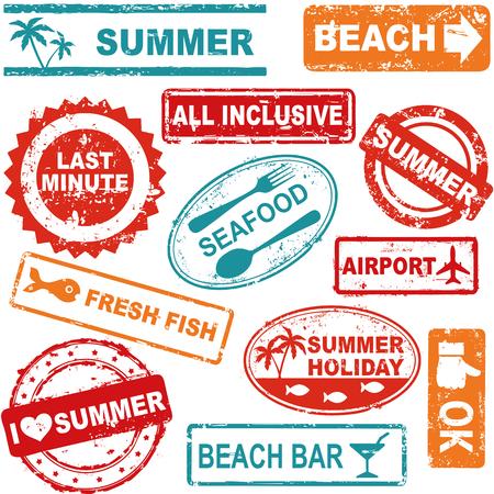 Summer and travel grunge rubber stamp collection Ilustração