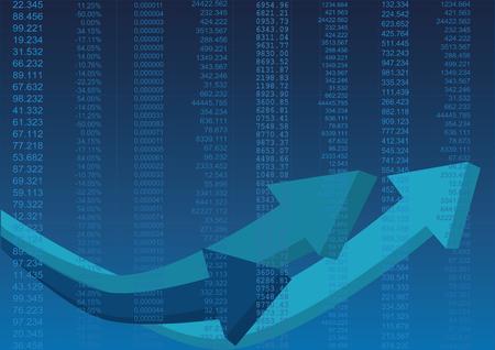 Colour business finance chart with data and arrows Ilustração