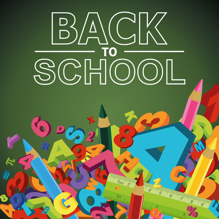 Back to school background with letters, numbers and colored pencils