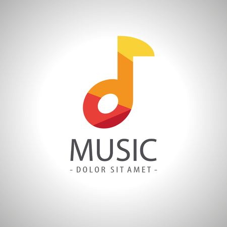 single songs: Abstract music note icon logo