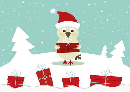 Winter card with bird and gift boxes
