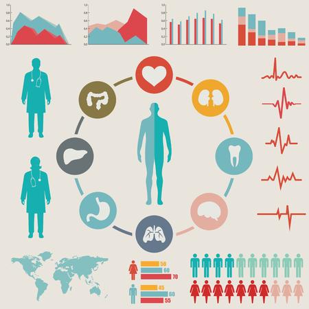 estetoscopio: Conjunto médico Infografía. Ilustración del vector.