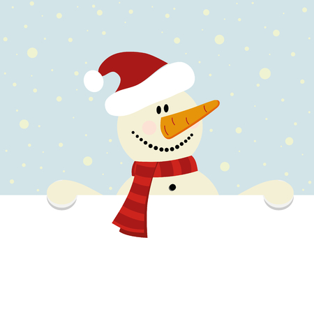 vector christmas illustration of happy snowman