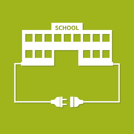 plug socket: Abstract background with wire plug, socket and school building. Flat design.