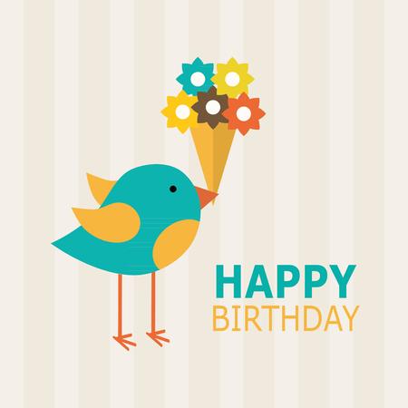 flores de cumpleaños: diseño de tarjeta de feliz cumpleaños. ilustración vectorial Vectores