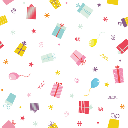 Party presents colorful seamless pattern with ribbons and stars Ilustração