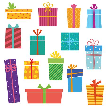 Reihe von bunten Geschenk-Boxen auf weißem Hintergrund. Vektor-Version. Vektorgrafik