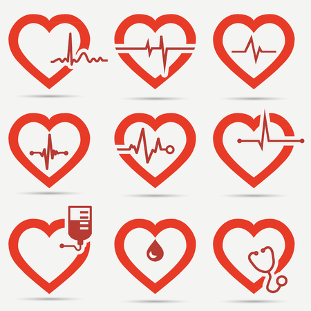 blood pressure monitor: Heart Icon Set Illustration