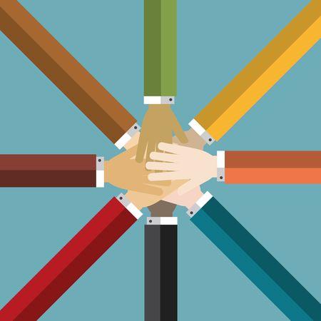 Group of Hands Together Ilustração
