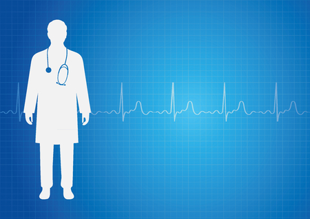 Medical background with doctor and ekg heartbeat Illustration