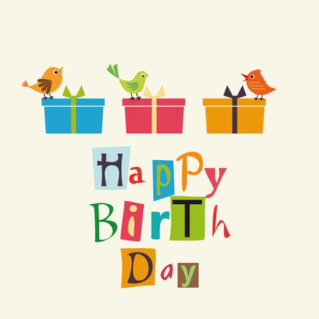 Happy Birthday card with sweet birds Ilustração