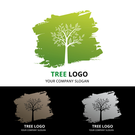 Logo of tree against green brush shape