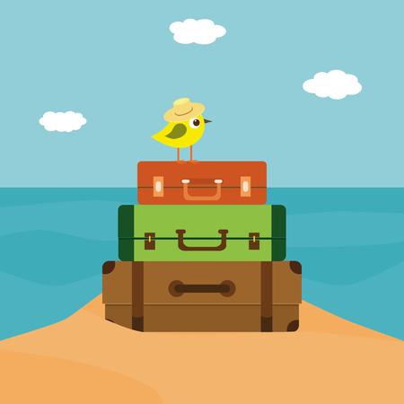 Little bird sitting on the stack of suitcases Ilustração