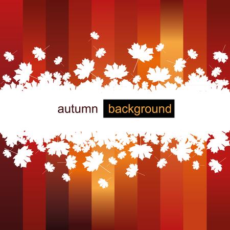 Autumn leaf background on red stripes Ilustração