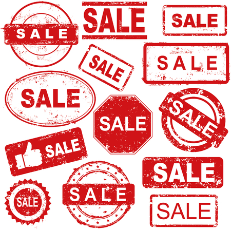 A set of grunge rubber stamps with sale text for sellers.
