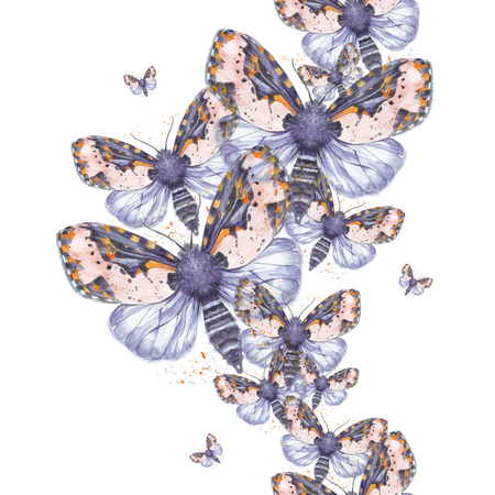 Painted drawing watercolor shaggy butterfly teddy bear seamless background, bright coloring, thick torso, night butterfly on white background with splashes in serene tones, for decor, prints