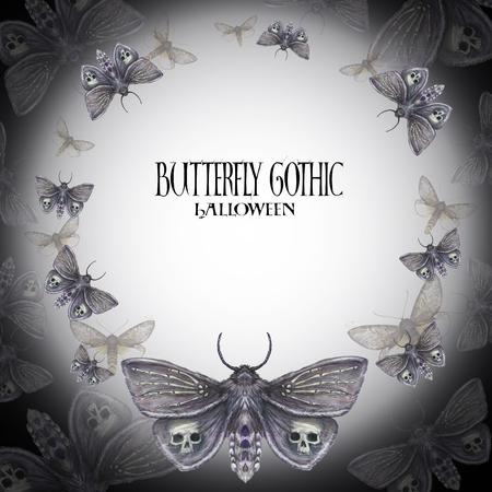 蝶の夜蝶、羽、骨、骨格、暗い背景の毛皮のような蝶の手首の上に頭蓋骨とハロウィーンの休日にひどい蝶のフレームの描画の水彩画