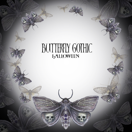 Aquarel tekening van een frame van een vlinder nachtvlinder, een vreselijke vlinder op een Halloween-vakantie met een schedel op zijn vleugels en botten, een pols van een skelet, een harige vlinder tegen een donkere