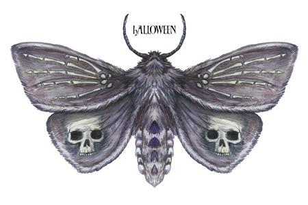 Waterverftekening van een vlinder van de vlindernacht, een vreselijke vlinder op een Halloween-vakantie met een schedel op zijn vleugels en beenderen, een pols van een skelet, een bontvlinder op een witte achtergrond