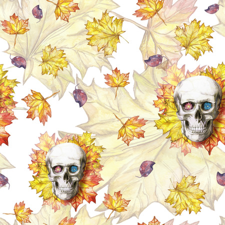 Watercolor drawing seamless background human skull for halloween with autumn yellow leaves and flowers in the eye sockets for print, decor on a yellow background