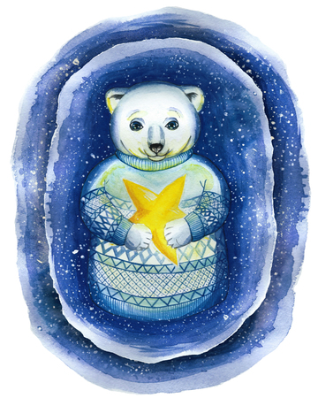A watercolor drawing on the theme of the New Year and Christmas, a drawing of a polar bear, in the technique of a cartoon, in a jacquard sweater, a Scandinavian pattern that holds a yellow star illuminati