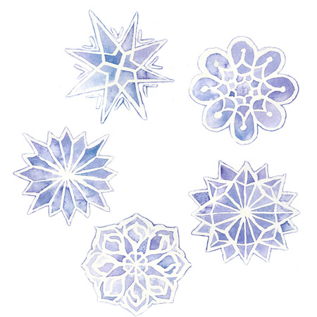 watercolor drawing of snowflakes, set of 6 snowflakes, purple on a white background, for graphics and design